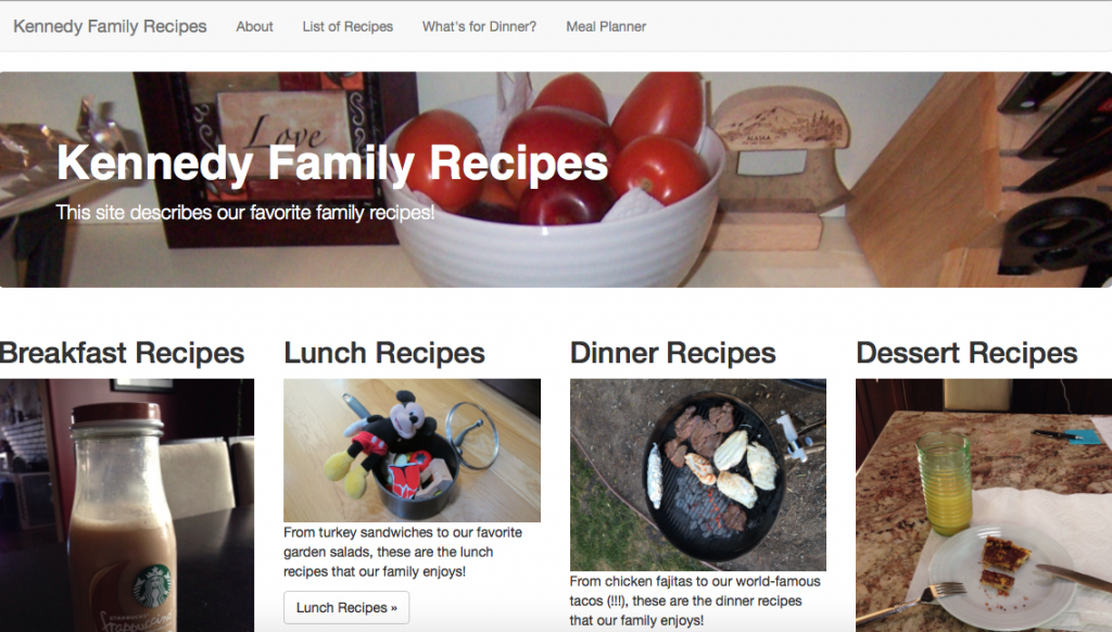 Screenshot of Kennedy Family Recipe Site