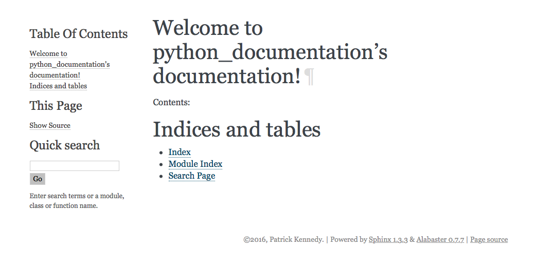 Python Documentation using Sphinx – Patrick's Software Blog
