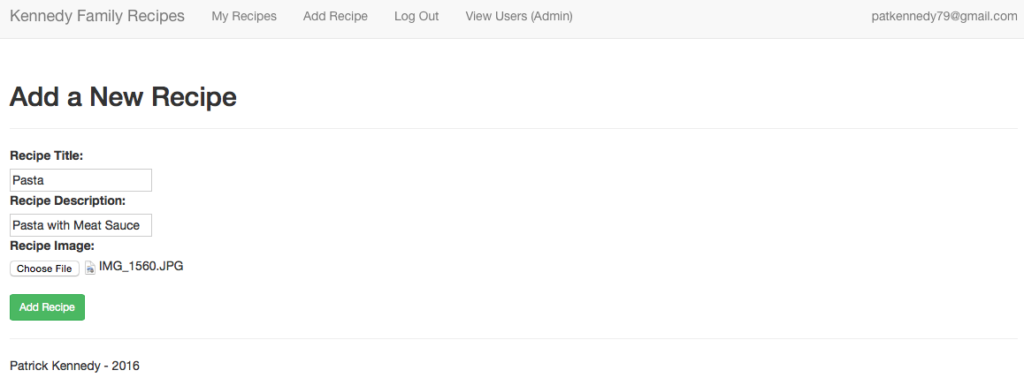 Add Recipe Filled In Screenshot